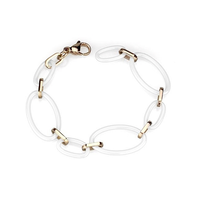 14K Rose Gold Plated Fashion Bracelet White Ceramic