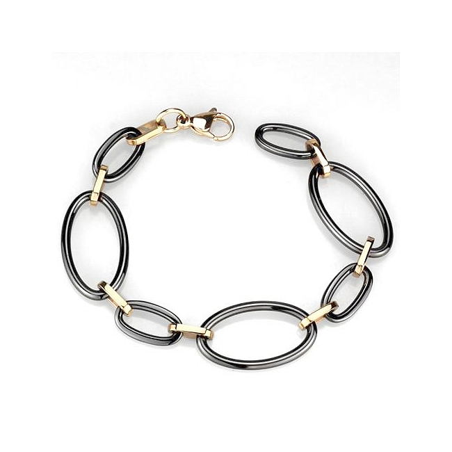 14K Rose Gold Plated Fashion Bracelet Black Ceramic