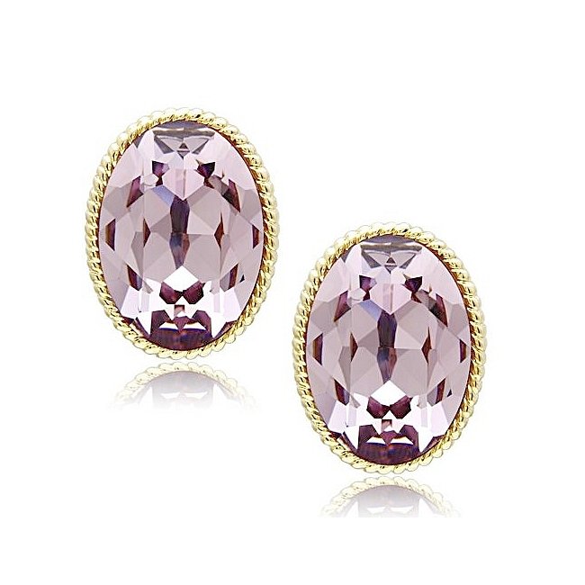 14K Gold Plated Fashion Earrings Light Amethyst Crystal