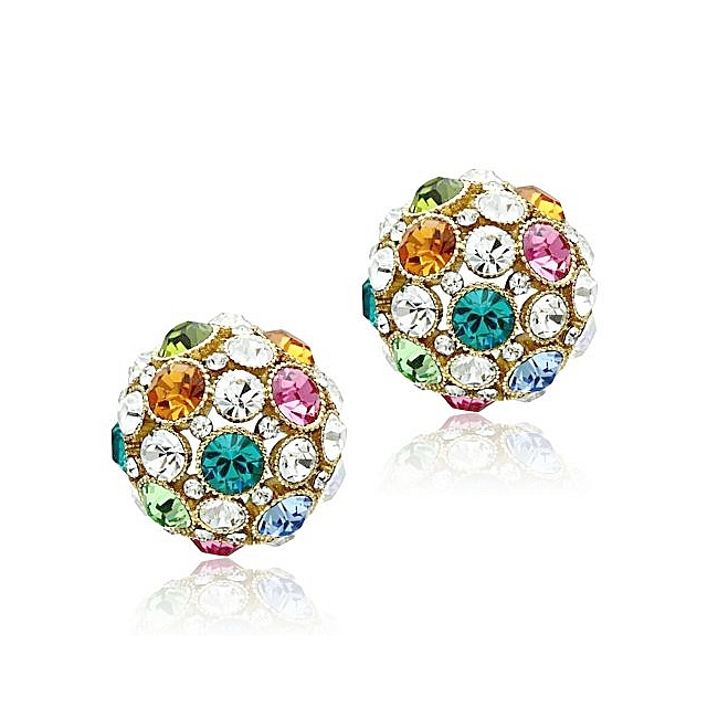 14K Gold Plated Fashion Earrings Multi Color Crystal