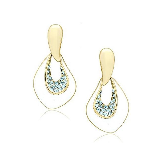 14K Gold Plated Fashion Earrings Aqua Crystal