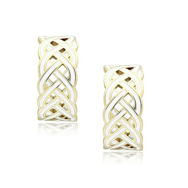 14K Gold Plated Fashion Earrings White Epoxy