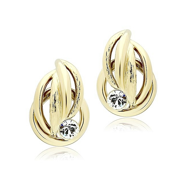 14K Gold Plated Fashion Earrings Clear Crystal