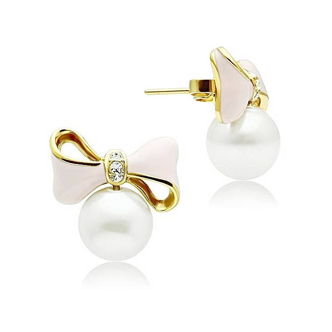 14K Gold Plated Fashion Earrings White Synthetic Pearl