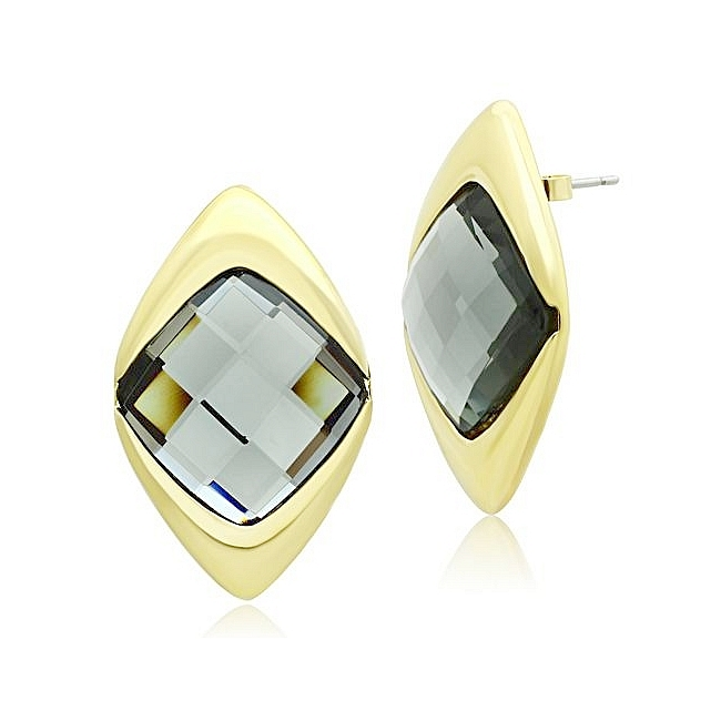 14K Gold Plated Fashion Earrings Black Synthetic Glass