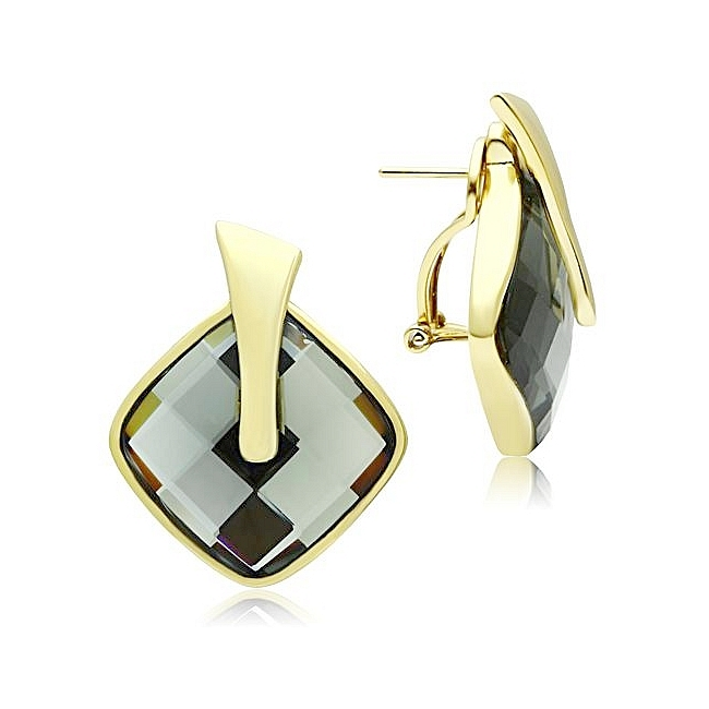 Classy 14K Gold Plated Fashion Earrings Black Synthetic Glass