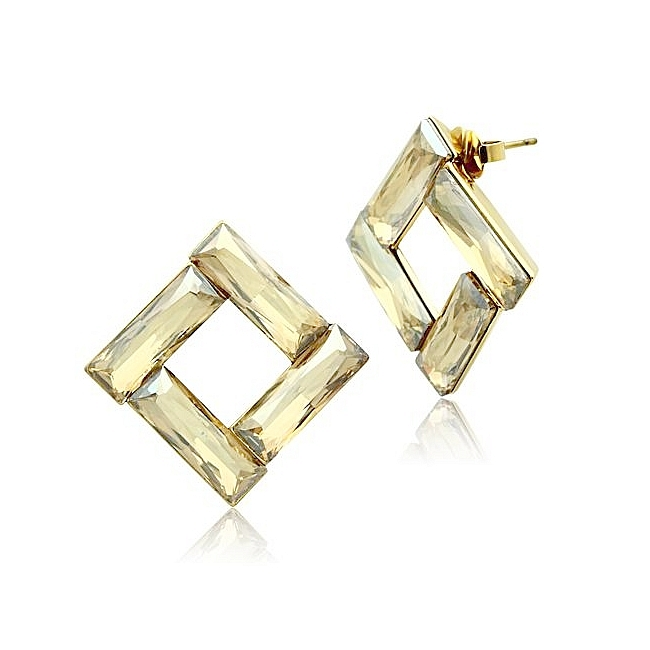 14K Gold Plated Fashion Earrings Topaz Crystal