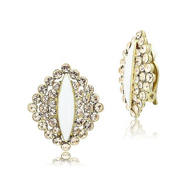 14K Gold Plated Fashion Earrings Champagne Crystal