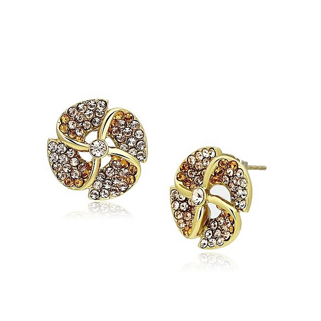 Classy 14K Gold Plated Fashion Earrings Multi Color Top Grade Crystal