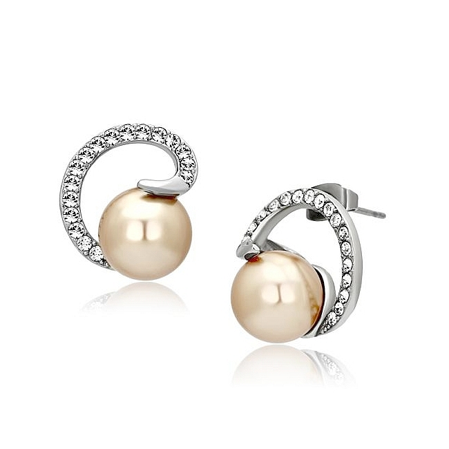 Silver Tone Fashion Earrings Brown Synthetic Pearl