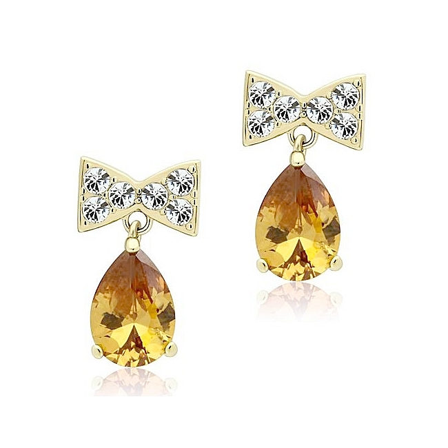 14K Gold Plated Fashion Earrings Champagne CZ
