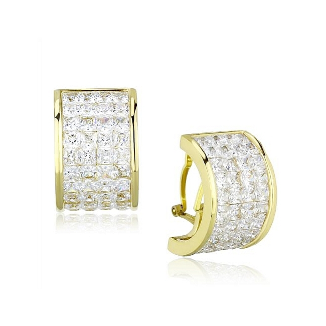 14K Gold Plated Fashion Earrings Clear CZ