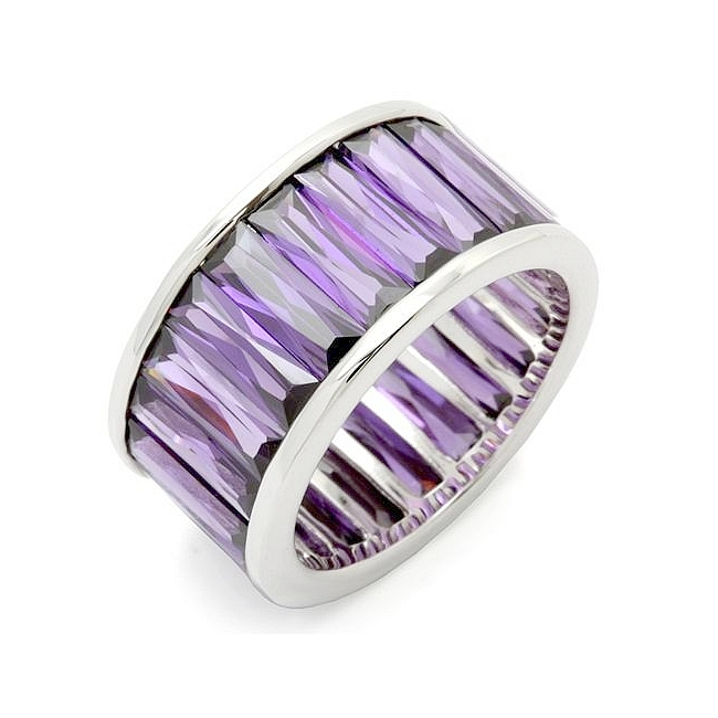 Silver Tone Band Fashion Ring Fuchsia CZ