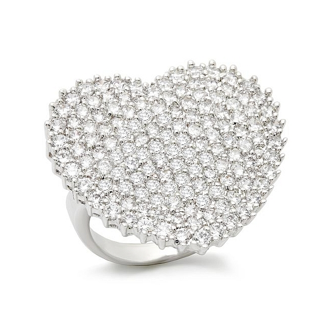 Extraordinary Silver Tone Pave Fashion Ring Clear CZ