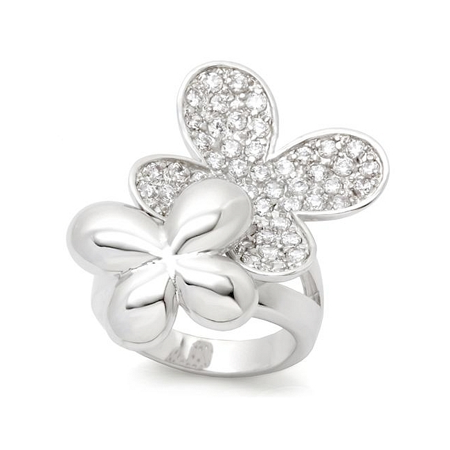 Silver Tone Butterfly Fashion Ring Clear CZ