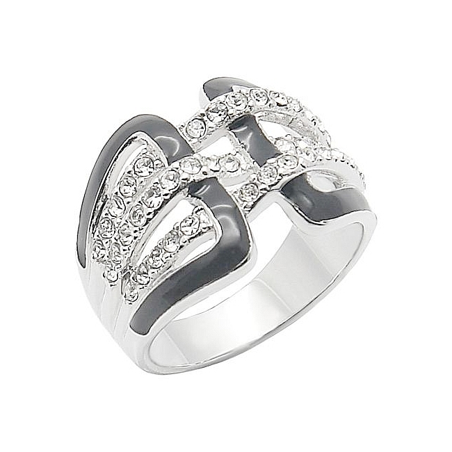 Silver Tone Belt Buckle Fashion Ring Clear CZ