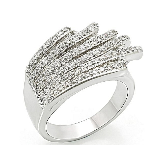Fancy Silver Tone Pave Fashion Ring Clear CZ
