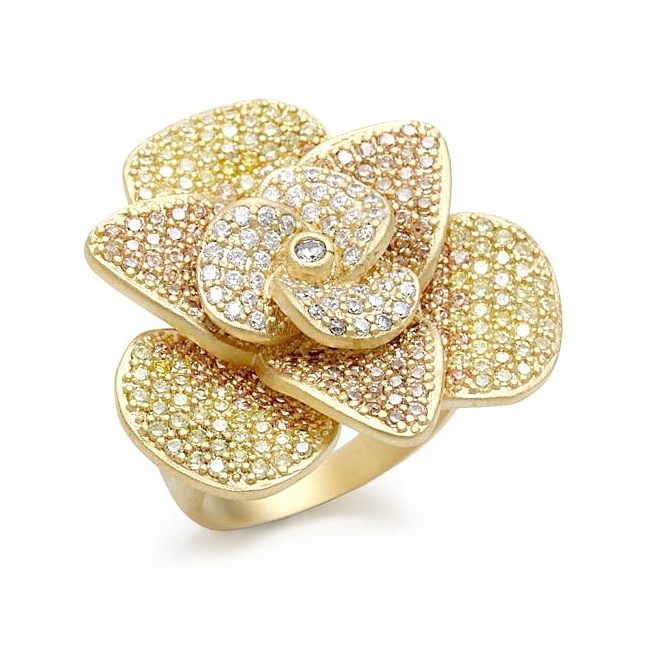 Classic Mat Gold Flower Fashion Ring Multi Color CZ