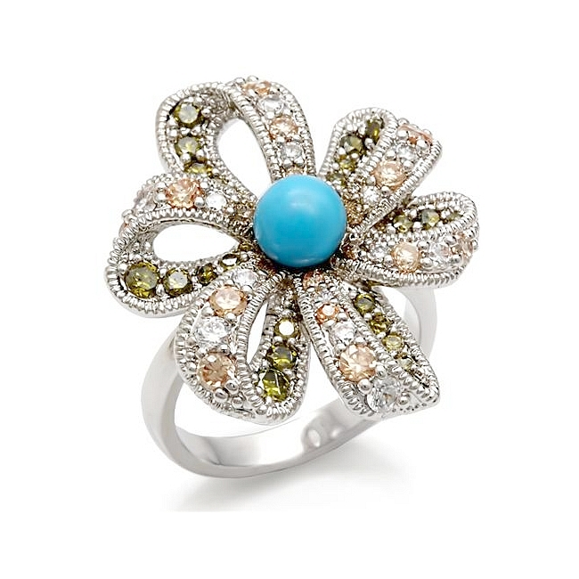 Silver Tone Flower Fashion Ring Aqua Synthetic Turquoise