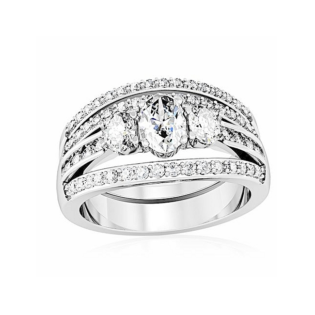 Exclusive Silver Tone Pave Engagement Wedding Ring Set Clear CZ