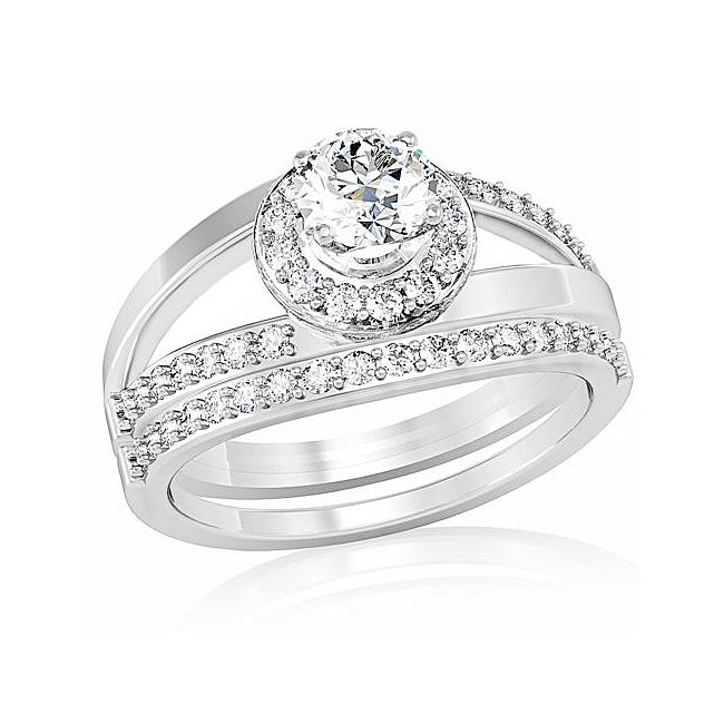 Majestic Silver Tone Pave Engagement Wedding Ring Set