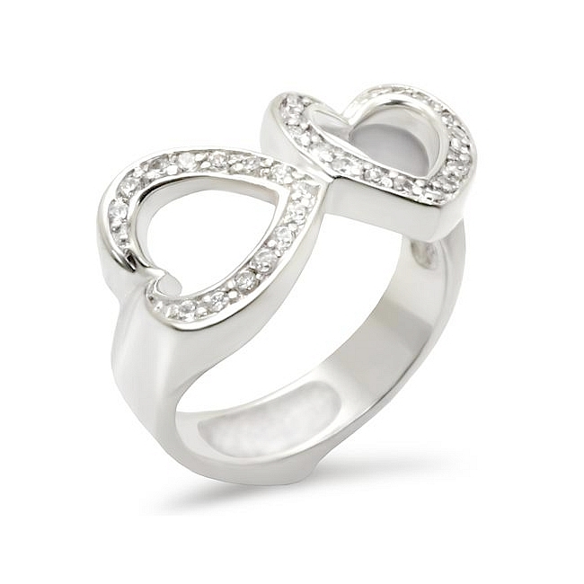 Sterling Silver .925 Heart Ring Clear CZ