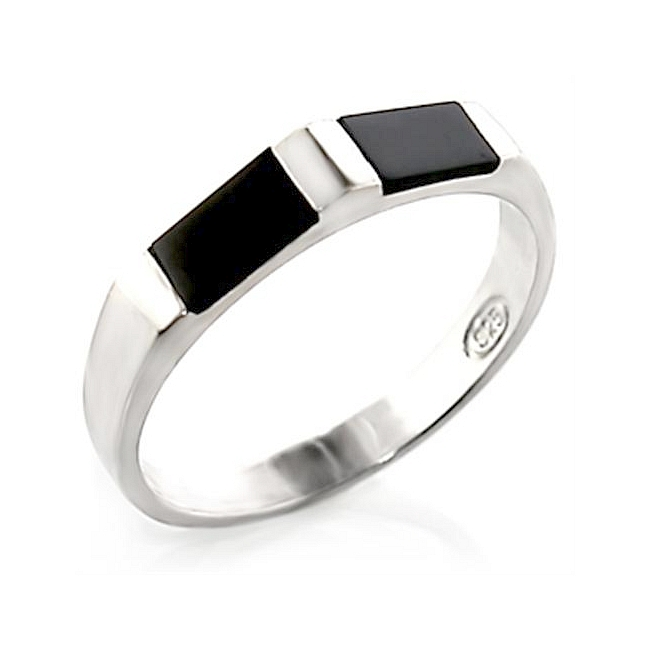 Sterling Silver .925 Band Ring Black Synthetic Onyx