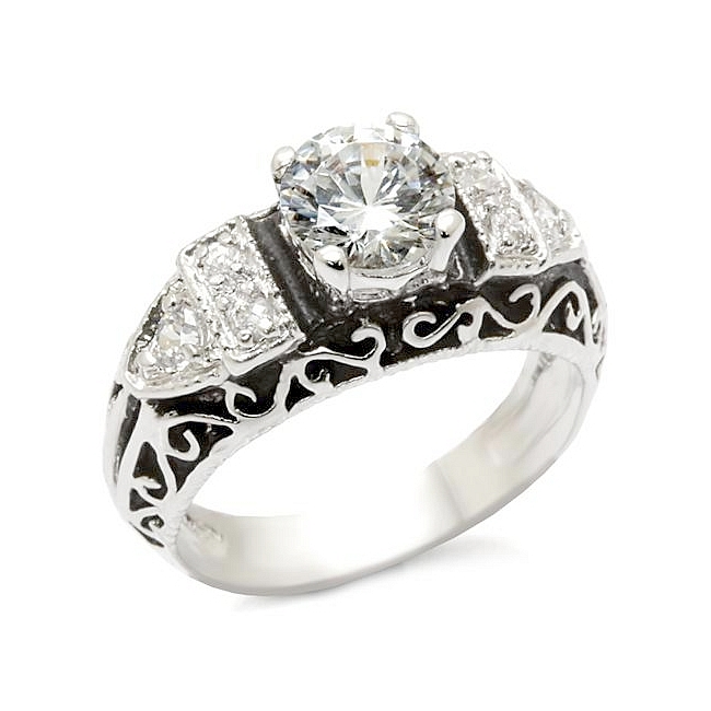 Sterling Silver .925 Vintage Ring Clear CZ