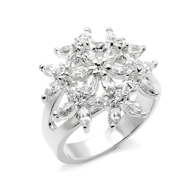Sterling Silver .925 Flower Ring Clear CZ