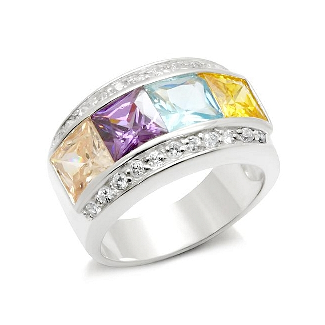 Petite Sterling Silver .925 Band Ring Multi Color CZ