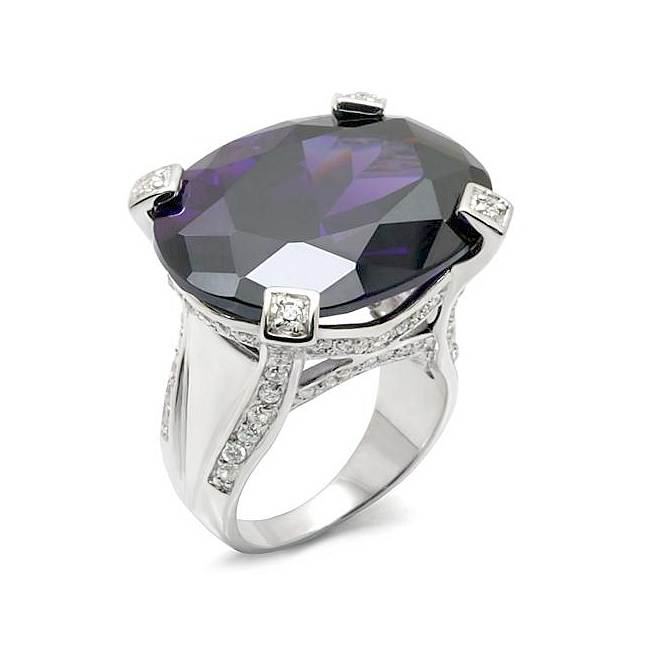 Sterling Silver .925 Ring Amethyst Cubic Zirconia