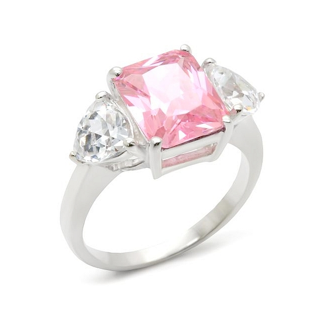Sterling Silver .925 Ring Rose CZ