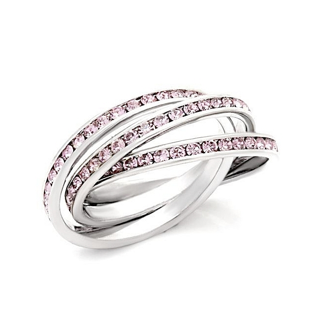 exclusive sterling silver 925 three band wedding ring light amethyst crystal - Three Band Wedding Ring