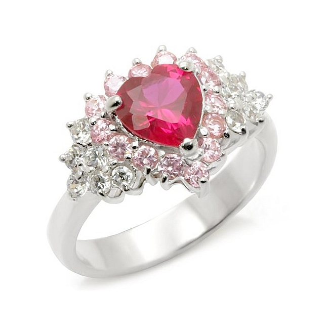 Fancy Sterling Silver .925 Heart Ring Ruby CZ