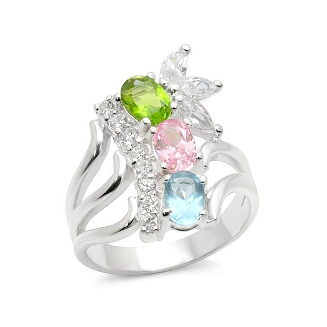 Sterling Silver .925 Ring Multi Color CZ