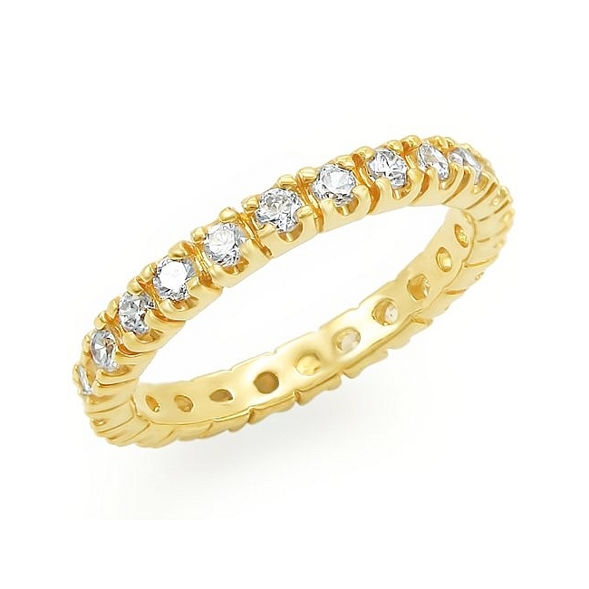 Extraordinary 14K Yellow Gold Plated Eternity Wedding Ring Clear CZ