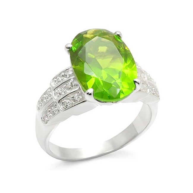 Sterling Silver .925 Ring Peridot CZ