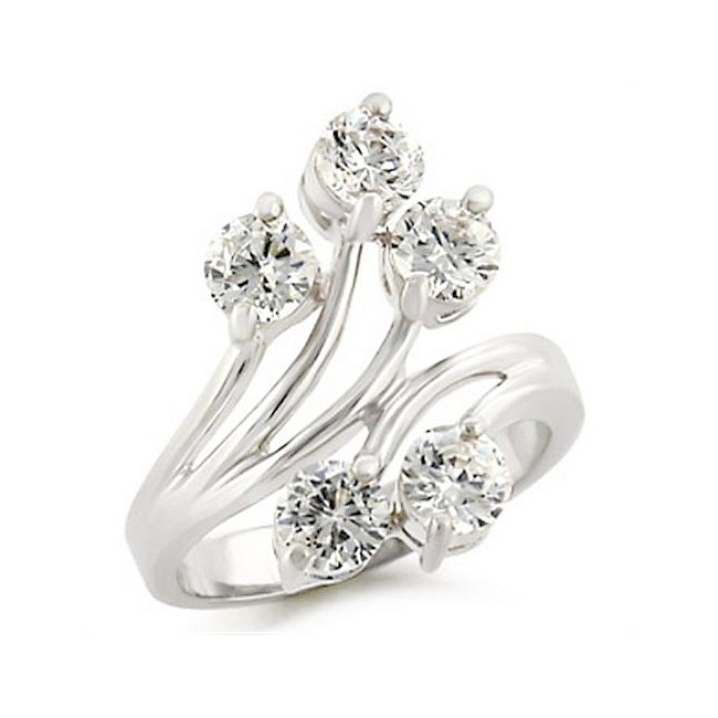 Classy Sterling Silver .925 Flower Ring Clear Cubic Zirconia