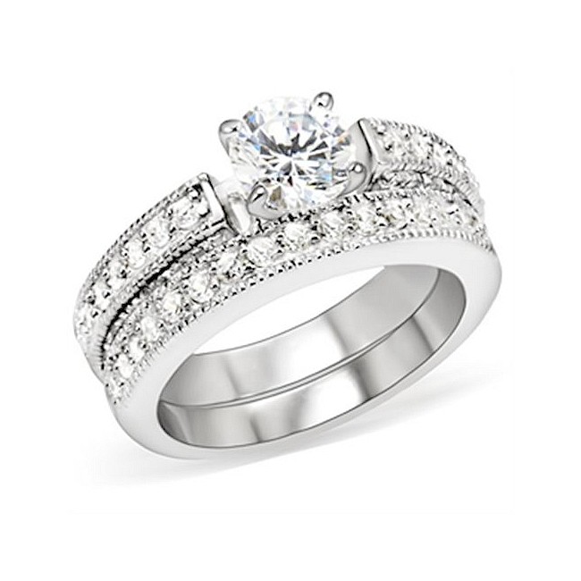 Elegant Silver Tone Pave Engagement Wedding Ring Set w Cubic Zirconia