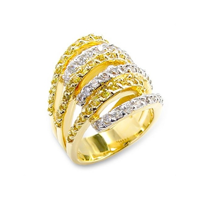 Two Tone Fashion Ring Topaz CZ