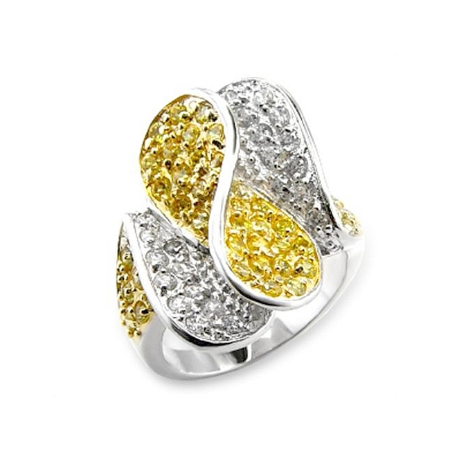 Two Tone Fashion Ring Topaz Cubic Zirconia