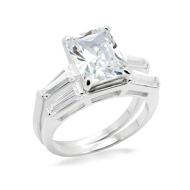 Classic Silver Tone Fashion Ring Clear CZ