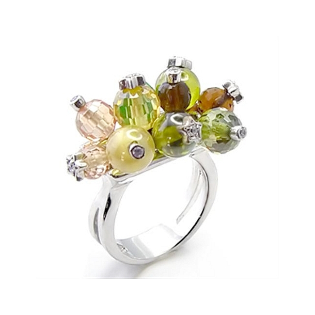 Silver Tone Flower Fashion Ring Multi Color CZ