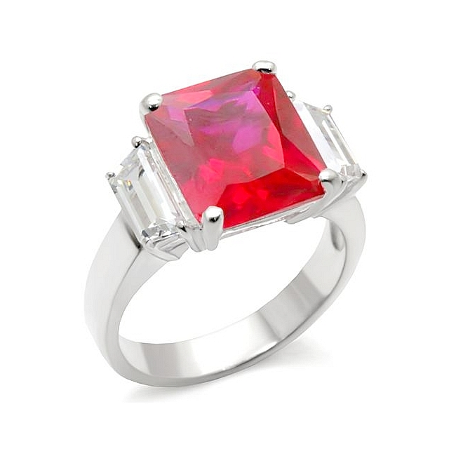Classy Sterling Silver .925 Ring Ruby CZ