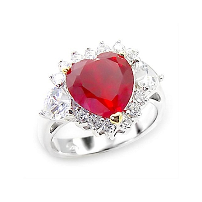 Sterling Silver .925 Ring Ruby CZ