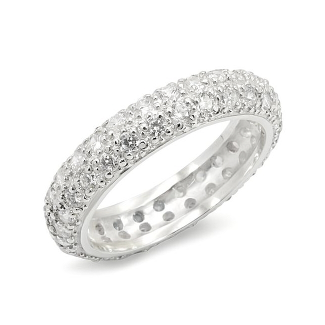 Silver Tone Eternity Wedding Ring Clear CZ 8 CARAT