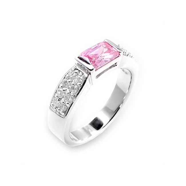 Sterling Silver .925 Ring Rose Cubic Zirconia