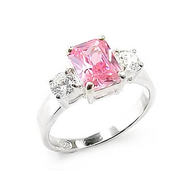 Stylish Sterling Silver .925 Ring Rose CZ