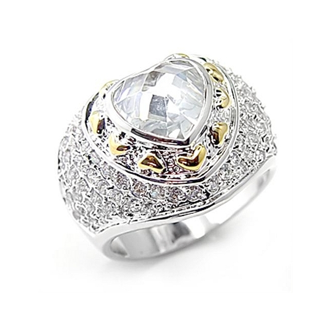 Two Tone Fashion Ring Clear Cubic Zirconia
