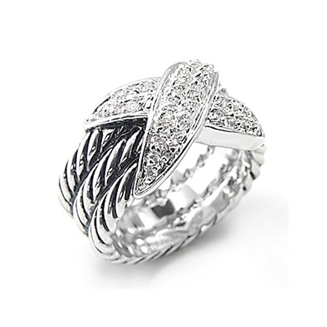 Exquisite Silver Tone Pave Fashion Ring Clear CZ